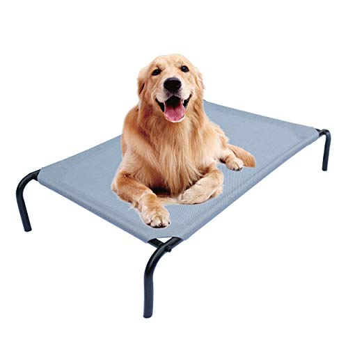 PHYEX Heavy Duty Steel-Framed Portable Elevated Pet Bed, Elevated Cooling Pet Cot, 50.5