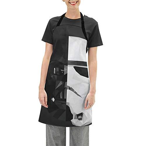 Darth Vader Stormtrooper Baby Yoda Star The Wars Mandalorian Delantal de Cocina Novedad Divertido Mujeres y Hombres Hogar Cocina Hornear Delantal Impermeable Ajustable