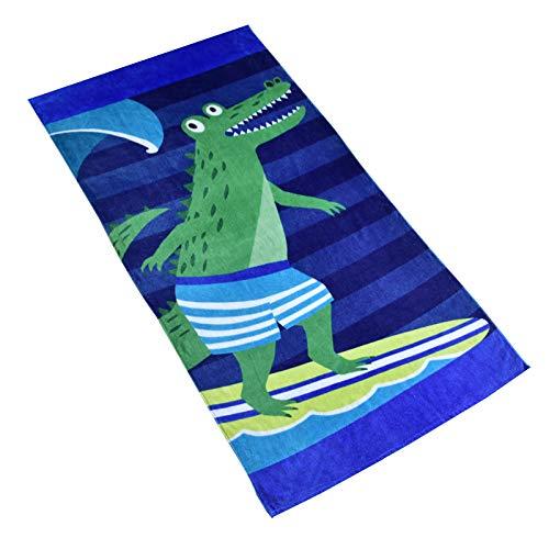Baogaier Surf Coccodrillo Asciugamano da Spiaggia - Telo da Bagno 80 X 160cm Cotone Morbido Blu Coperta da Spiaggia Grande Morbida Assorbente per Bambini Adulti Nuoto Escursionismo Sport Vacanza
