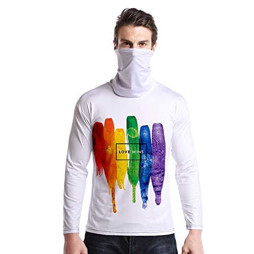 T-Shirt À Manches Longues,Casual Long Sleeve Round Neck Imprimé Coloré Arc-en-Ciel Doodle Unisex T-Shirt Tops Imprimé Chemisier Body Shirt avec Écharpe Hommes Femmes Automne Hiver Pullover SWEA