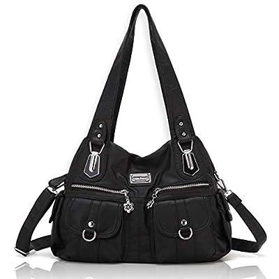 Angel Barcelo Women Top Handle Satchel Handbags Shoulder Bag Messenger Tote Washed Leather Purse Black