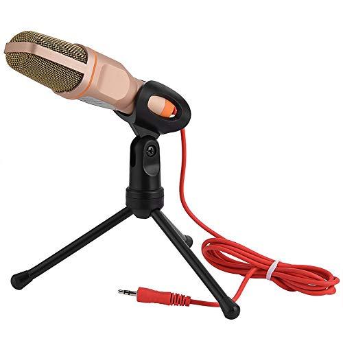 Archuu Micrófono de Condensador, micrófono de grabación de Condensador de Metal de 3.5 mm Pastillas Ultra claras con trípode y Cable de Audio de 2 m para Voces de grabación de PC/Estudio(Oro)