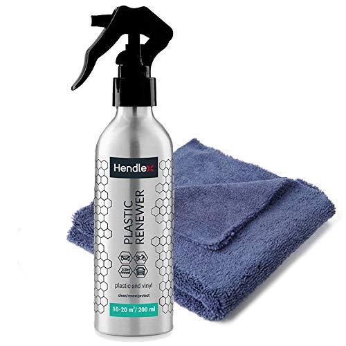 Hendlex Auto Kunststoffpflege. Schutzmittel, Kunstoff-, CockpitReiniger und Farbe Erneuerer Spray, Auto Innenraum Reiniger 200ml mit gratis mikrofaser Reinigungstuch.