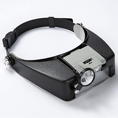 H/L LED hoofdband, vergrootglas gemonteerd, glastype vergroting, met twee meervoudige LED's, voor reparaties