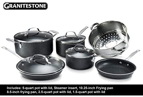 GRANITESTONE 24 Piece Set Cookware, Pots and Pans, Knife Set, Scratch-Resistant, Nonstick Granite-coated, Dishwasher and Oven Safe PFOA-Free Kitchenware As Seen On TV