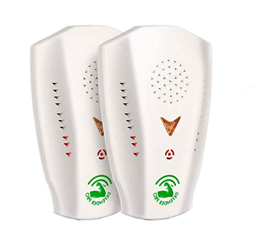Defender Pro Ultrasonic Pest Repeller 2 Pack Upgraded Ultrasound Bug Repellent with 3 Output Frequencies Works on Mosquitoes, Cockroaches, Crickets, Mice, Spiders Effective Indoors