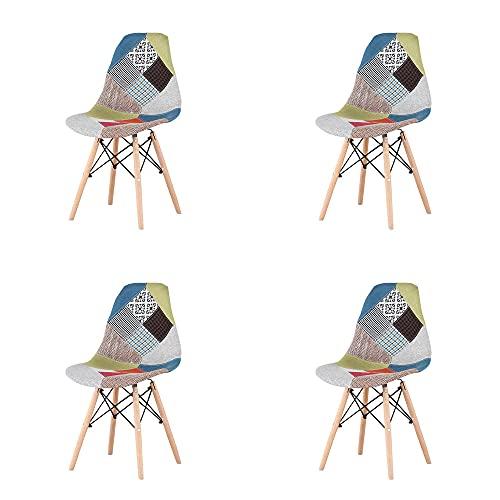 VERDELZ Juego de 4 sillas de salón, de comedor, de oficina, de madera natural con respaldo de ABS, color rojo