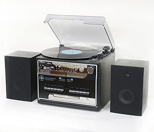 Steepletone BT-SMC386r PRO, 8 in 1 Bluetooth Retro Nostalgic Music System (Stereo Speakers), Remote Control, 3 Speed Record Player, CD Player, FM/MW Radio, TWIN Cassette, SD/USB RECORDING - Black