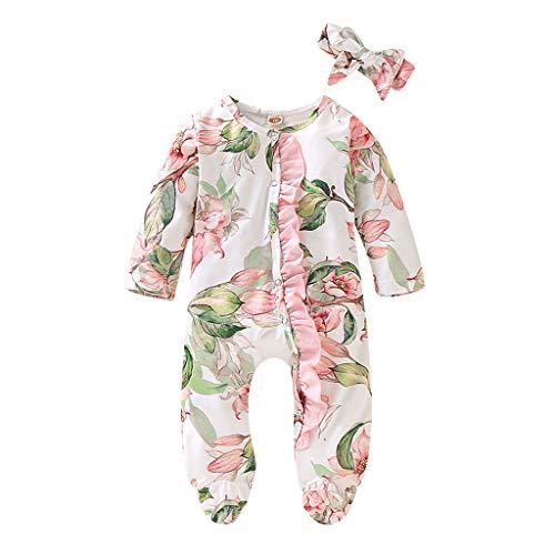 Neugeborenes Baby Mädchen Junge Jumpsuit Spieler Fuß-Pyjamas Kletterkleidung Spielanzug Overalls Strampler Stirnband Kleidung Outfits Set, Weiß, 3-6 Monate