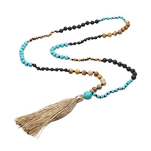GuDeKe Style bohémien Gland Roche Lave Pierre Naturelle Collier de Perles Turquoise mèche Longue Bijoux de déclaration pour Les Femmes Bracelet Unique