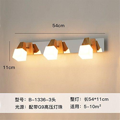 DengWu wandverlichting Chinese voor de spiegellamp wc wc in Scandinavische stijl houten spiegel voorlicht wandlamp LED badkamerkast voor de spiegel lamp