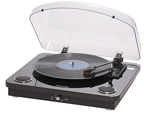 Denver Electronics VPL-200BLACK Noir - Platines (Noir, 33 1/3,45,78, Rotatif, Cartouche stéréo en...