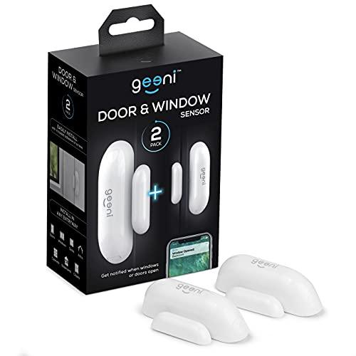 Geeni Wi-Fi Door Sensor, Smart Door and Window Sensors, White, 2-Pack No Hub Required – Wireless Design, Instant Alerts, Requires 2.4 GHz