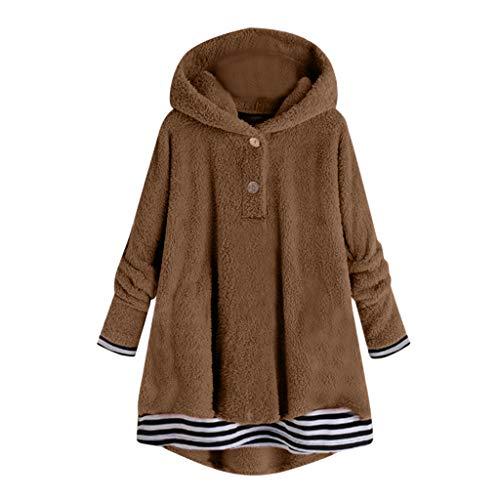 Kolila Damen Fleece Wintermantel Langarm Warm Striped Stitching Hem Fuzzy Plüsch Jacke Lässige Kapuzenjacke Hooded Mantel