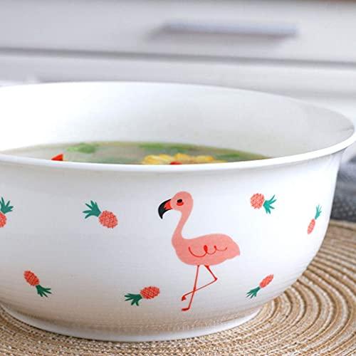 GAXQFEI Cclla Bowls Fruit Bowl Cerámica Vajilla Hogar 8 Pulgadas Sopa de Tazón con una Cuchara