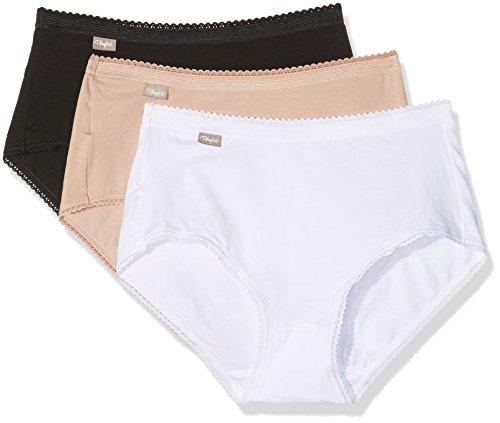Playtex 00BP, Bragas para Mujer, Multicolor (blanc/beige/noir), 48, Pack de 3
