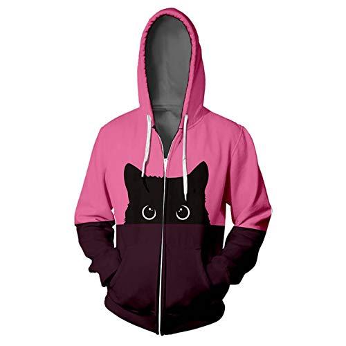 WYZTLNMA Hoodies for Women Cat Print Hip Hop Zipper Pocket Plus Size Casual Female Streetwear Long Sleeve Hoodie Sweatshirt Rose Red