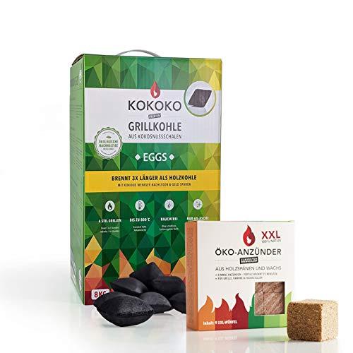 McBrikett KOKOKO Eggs Grillkohle 8kg + ÖKO ANZÜNDER | Set Bio-Kokoskohle & XXL Grillanzünder | Top Qualität für alle Grills