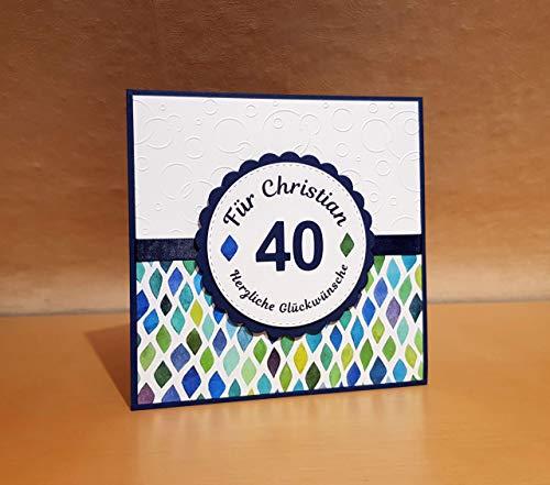 Geburtstagskarte, Glückwunschkarte, Grußkarte, Karte zum Geburtstag, Name u. Zahl personalisiert, Handarbeit, handgemacht