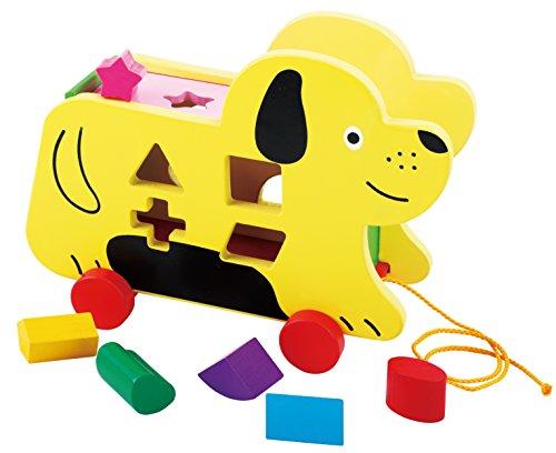 Toys of Wood Oxford Chien en Bois Jouet à Tirer avec Puzzle de Forme et Jeu De Tri Formes et Couleurs - Jouet à Tirer Bois pour 18 Mois et Plus