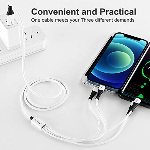 SDBAUX USB C Kabel, 4 in 1 Multi USB Kabel Silikon Universal Ladekabel Micro USB Typ C für iP 12 11 8 7 6 Samsung Galaxy S10 S9 S8 S7 A51 Huawei P30 P20 Xiaomi Honor Kindle Echo Dot PS4 Android- 1.2M