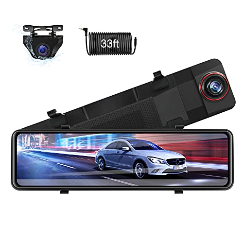 【Newest 11''】 Mirror Dash Cam Front and Rear Dual 1080P Rear View Mirror Camera FHD IPS Full Touch Screen Rearview Dashcam Waterproof Backup Camera with Enhanced Night Vision 170° Wide Angle for Cars