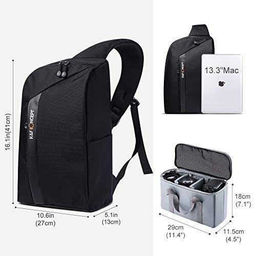 K&F Concept Kamerarucksack Sling Rucksack Fotorucksack Schultertasche für Canon Nikon Sony DSLR Spiegelreflexkamera und Zubehör, Schwarz
