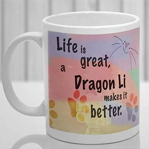 Taza de café personalizada de Dragon Li Cat, taza de cerámica para amantes de los gatos, taza de té para bebidas para el hogar y la oficina, cumpleaños, aniversario, Halloween, día de San Valentín, id
