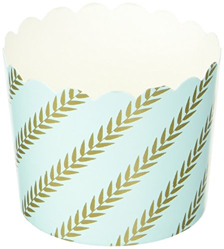 Simply Baked Large Paper Baking Cups, Mint Gold Leaf, 20-Pack