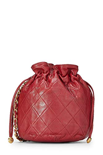 CHANEL Red Quilted Lambskin Bucket Bag Mini (Pre-Owned)