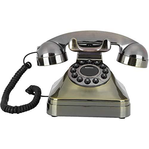 VERDELZ Ruleta Antigua Teléfono Fijo Teléfono De Bronce Antiguo Voz Integrada Chip Inteligente Teléfono Portátil para Decoración del Hogar Un Regalo para La Abuela