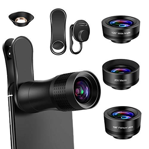 AFAITH 4-in-1 Objektiv Handy Kamera Lens Kit für Smartphone, 14X Zoom Teleobjektiv, 198 ° Fisheye Objektiv, 20X Makro objektiv, 120 ° Weitwinkel objektiv Kompatibel mit iPhone XS Max 8 Plus Galaxy S9