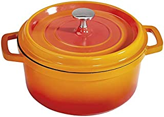 Heiss CA-011-O/BK Cast Aluminum Dutch Oven, 2.5 Quart, Round, Orange