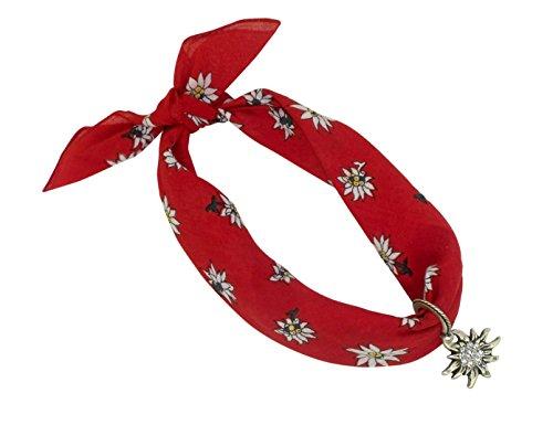 Rotes Nickituch im Edelweißdesign mit Herzanhänger mit Edelweißornamenten   Bandana aus 100%...