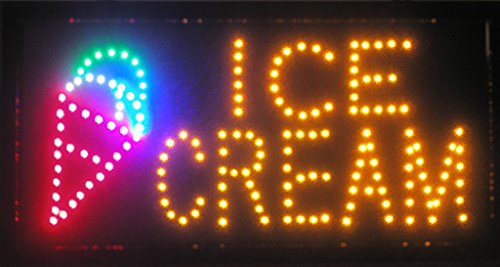 LED Neon Light Open Sign with Animation On/Off and Power On/Off Two Switchs for Business by E Onsale (Ice Cream L07)