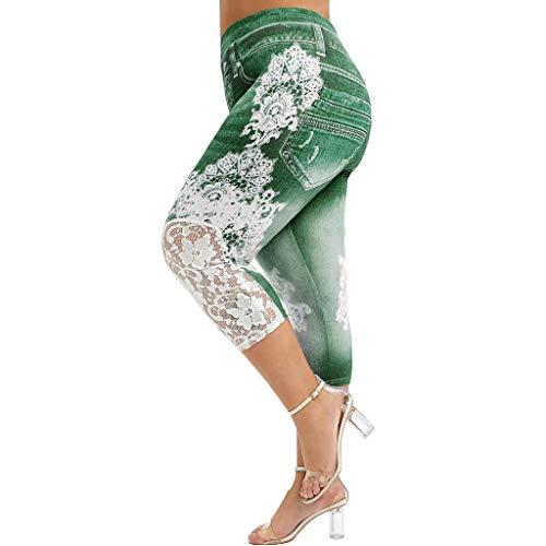 riou Leggings Mujer Deporte Cintura Alta Moda Talla Grande Encaje Estampado Empalme Cintura Elástica Casual Leggings Pantalones para Running Training Estiramiento Yoga y Pilates