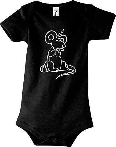 Shirtstown Body Bébé Drôle Animal Licorne Souris,Licorne,Souris - Noir, 18-24 Monate