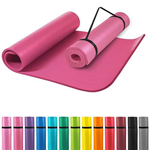 GORILLA SPORTS® Yogamatte mit Tragegurt 190 x 60 x 1,5 cm rutschfest u. phthalatfrei – Gymnastik-Matte für Fitness, Pilates u. Yoga in Fuchsia