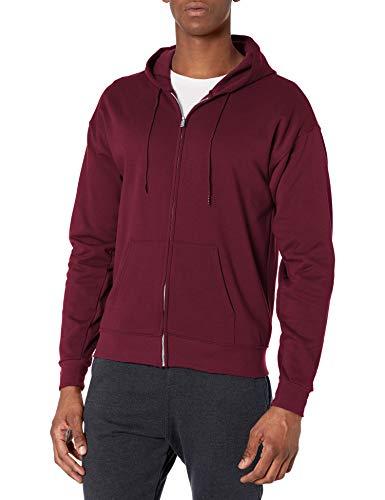 Hanes Men's Full-Zip Eco-Smart Fleece Hoodie, Maroon, Medium