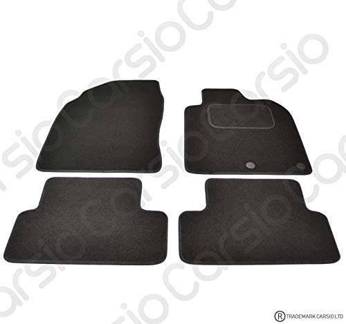 Carsio Tailored Black Carpet Car Mats for Qashqai 2007 to 2014-4 Piece Set