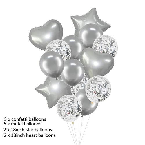 chenn 14Pcs/set Wedding Party Decoration Kid Children Birthday Supplies 18inch Heart Star 12inch Confetti Balloons,MT03