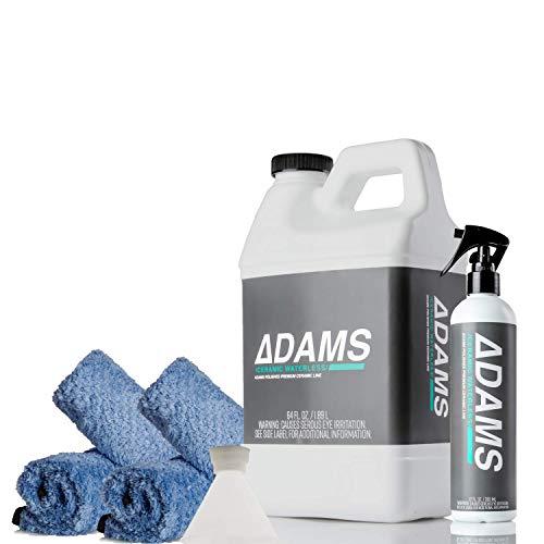 Adam's Ceramic Waterless Wash Kit - Car Cleaning SI02 Ceramic Coating Spray | Waterless Car Wash Kit Top Coat Cleaner | Safe On Wheels Car Windows Glass | Quick Detail Spray Ceramic Car Wax Boost