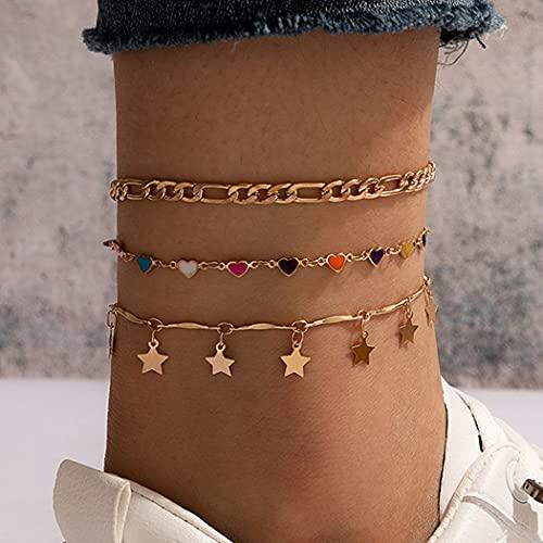 Handcess Tobilleras de lentejuelas en capas bohemias Pulseras de tobillo de estrella dorada Cadena...