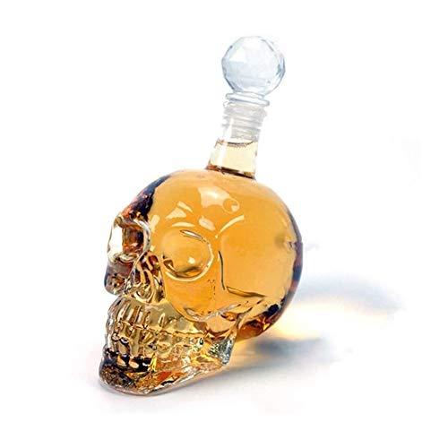 GAOTTINGSD Botellero Decanter Whisky, Botella Cristalina del Cráneo, Cristal Dispensador También For El Brandy Tequila Bourbon Whisky Ron, Gran Regalo For Cualquier Bar