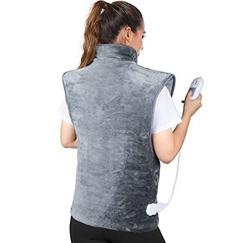 Heizkissen für Rücken Schulter Nacken, 60 x 100cm Wärmekissen mit Abschaltautomatik, Schnelle Erwärmung, 3 Heizstufen, Elektrische Rückenwärmer, Wärmetherapie zur Linderung Rücken Schulterschmerzen
