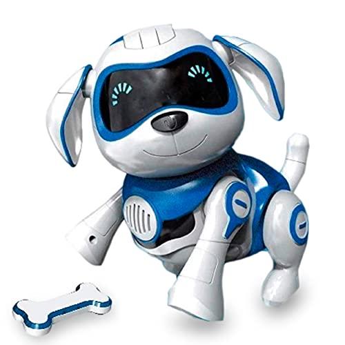 JUGUETECNIC │Perro Robot para Niños Interactivo Rock │Muestra Emociones y Movimiento │ Ladra y Juega con su Hueso │ Batería Recargable y Cable USB (VERSIÓN ESPAÑOL, Azul)