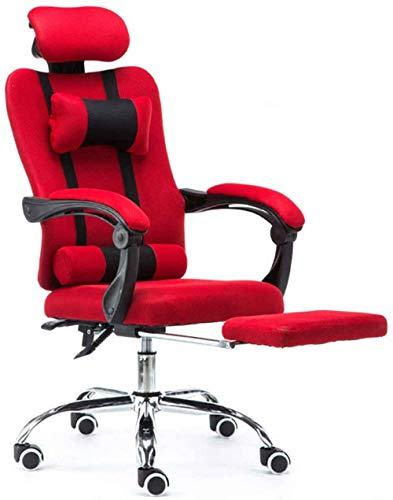 WSJYP Liegender Bürostuhl mit Fußstütze, Spielstuhl, Kopfstütze und Drehbarem Chai der Lendenwirbelsäule, Schwarz,Red