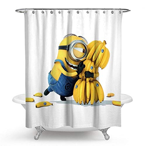 None brand Gelbe DuschvorhäNge Mischievous Minions Series DuschvorhäNge Badvorhang Polyester Wasserdichter Badvorhang Grinch-B150xh180cm