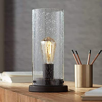 """Libby Rustic Accent Table Lamp 12"""" High Bronze Metal Round Seedy Glass Cylinder Shade LED Antique Edison Bulb for Bedroom Office - 360 Lighting"""