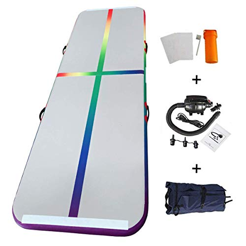 EZ GLAM 10ft/13ft Air Track Rainbow Inflatable Gymnastics Tumbling Air Track Mat with Electric Air Pump for Cheerleading/Practice Gymnastics/Beach/Park/Home use (10ftx3.3ftx4in(3x1x0.1m), Rainbow)